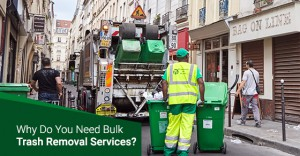 Garbage collector with green plastic containers removing junks.